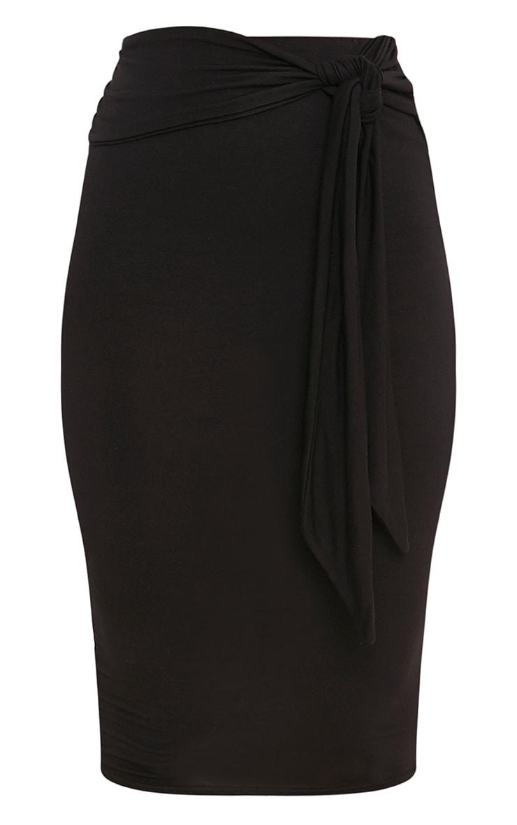 Jaina Black Tie Front Midi Skirt 3