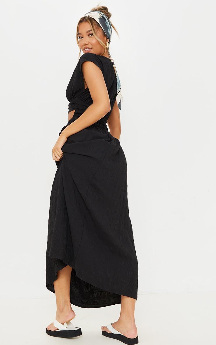 Black Textured Cut Out Ruched Waist Midaxi Dress 2