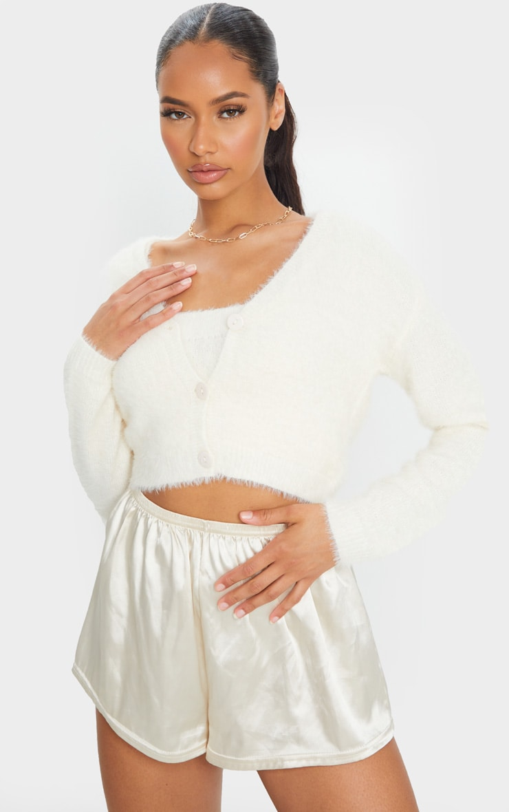 Cream Eyelash Knit Cropped Cardigan 1