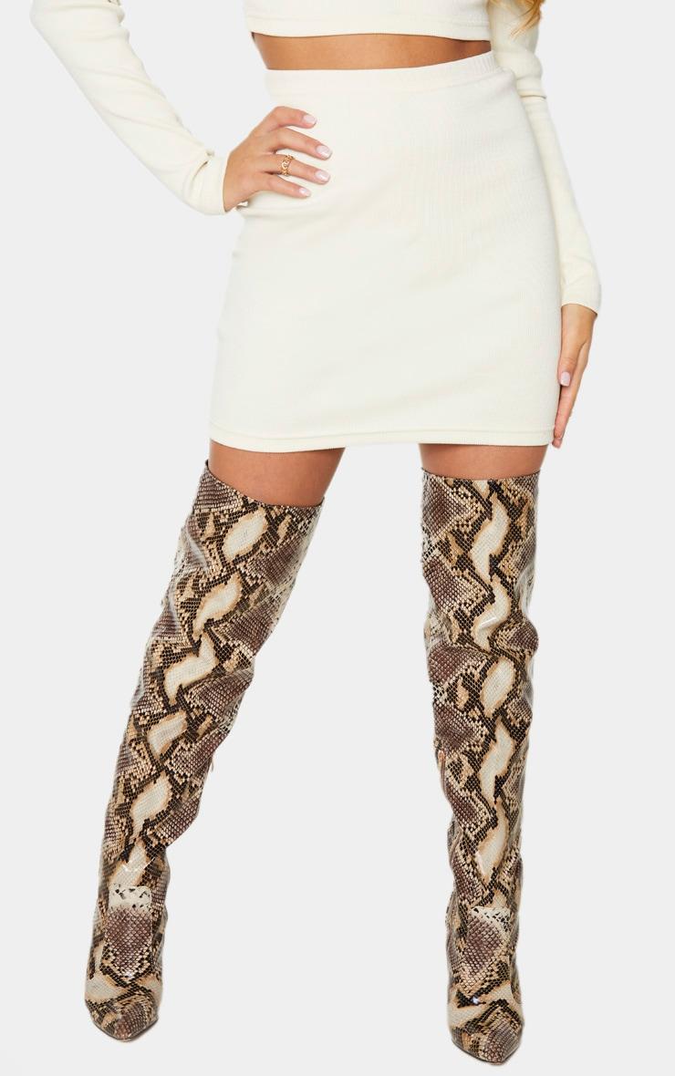 Cream Structured Rib Mini Skirt 2