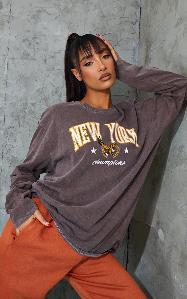 Chocolate New York Champion Washed Long Sleeve T Shirt 1