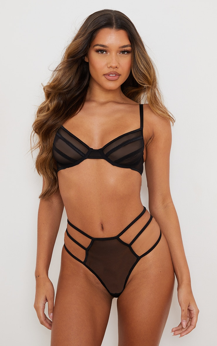 Black Underwired Contrast Binding Bra 1