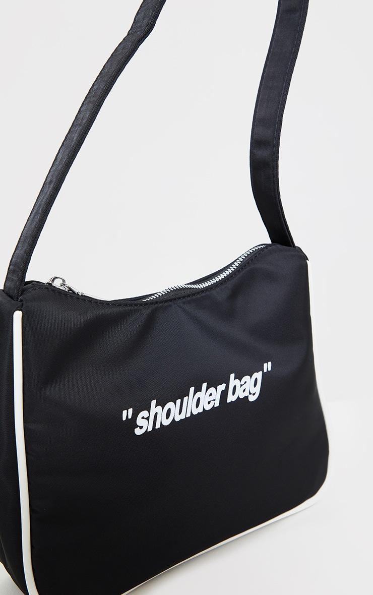Black Slogan Shoulder Bag 4