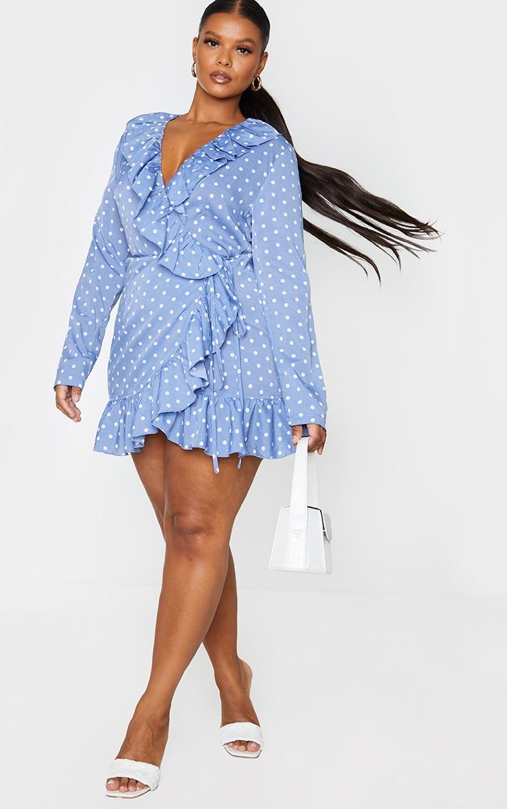 Plus Dusty Blue Polka Dot Frill Detail Wrap Dress 1