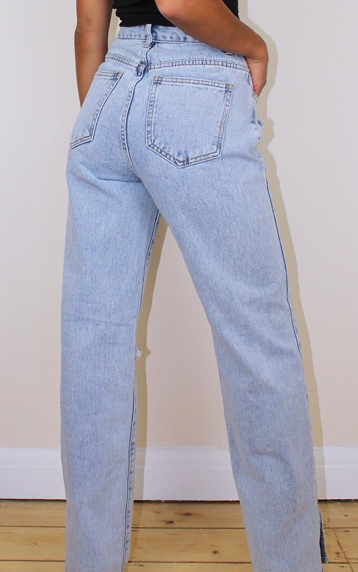 Petite Bleach Wash Distressed Split Hem Jeans 3