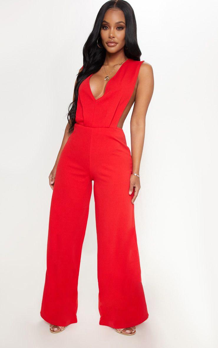 Shape Red Side Boob Wide Leg Jumpsuit 1