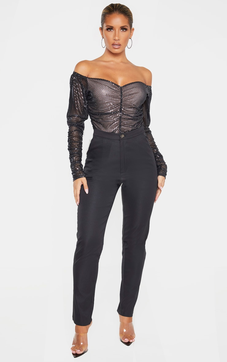 Black Sequin Ruched Bardot Long Sleeve Bodysuit 4