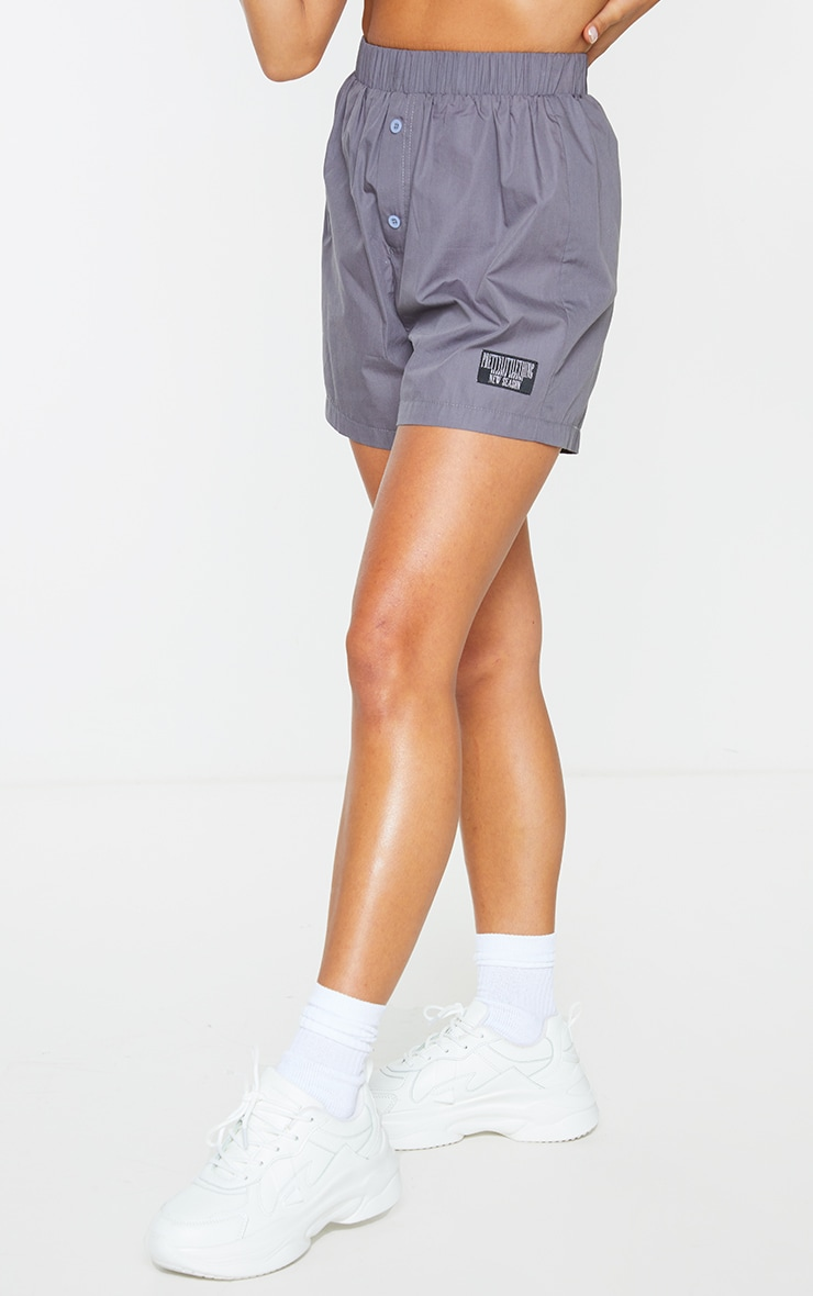 PRETTYLITTLETHING Charcoal Woven Boxer Detail Shorts 2