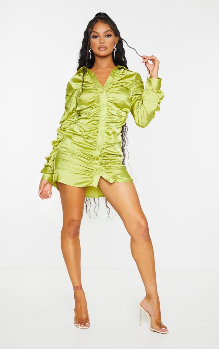 Chartreuse Satin Ruched Long Sleeve Shirt Dress 1