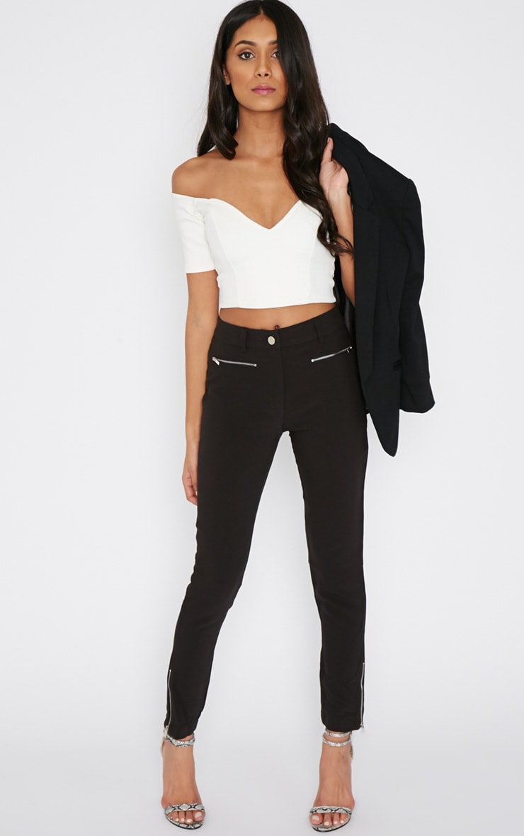 Larisa Black Zip Cigarette Trouser  1