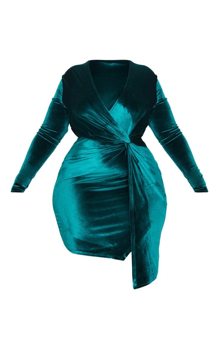 Plus Emerald Green Velvet Twist Front Dress 3