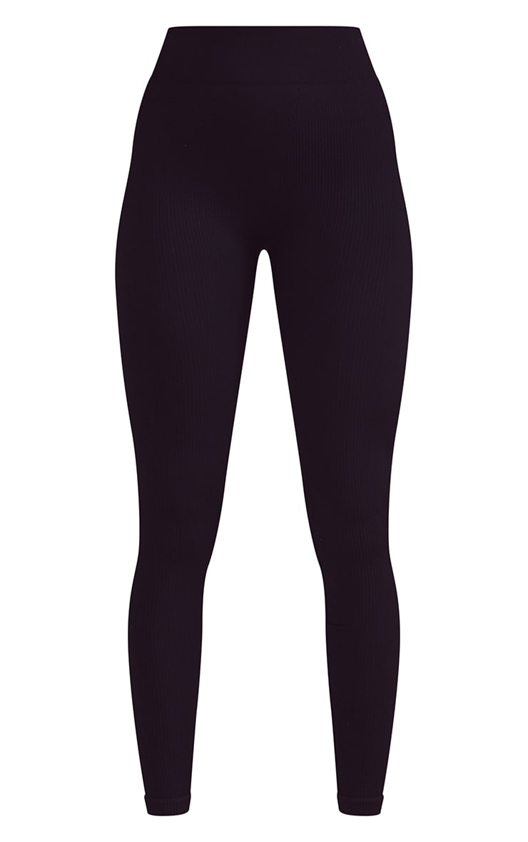 Black Ribbed Seamless Gym Leggings 5