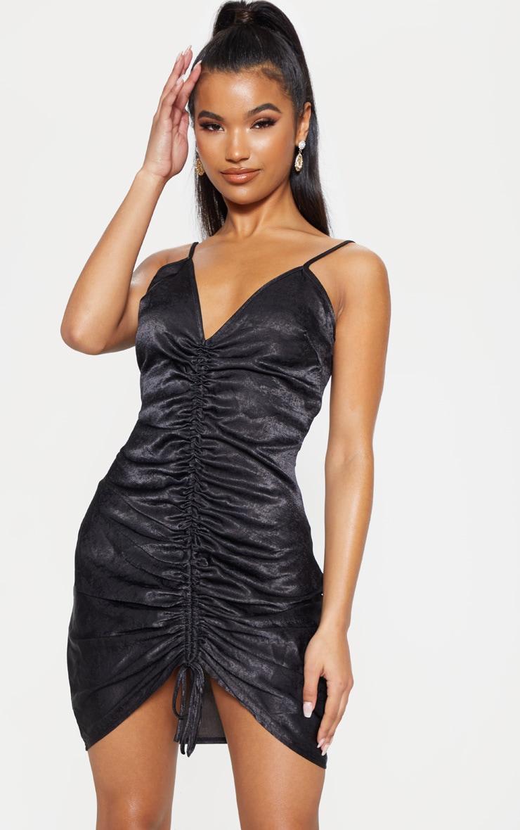 Black Strappy Satin Ruched Bodycon Dress