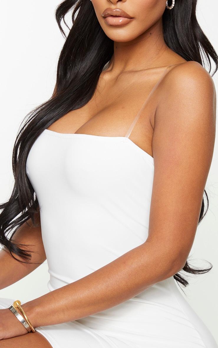 Shape White Slinky Clear Strap Bodycon Dress 4