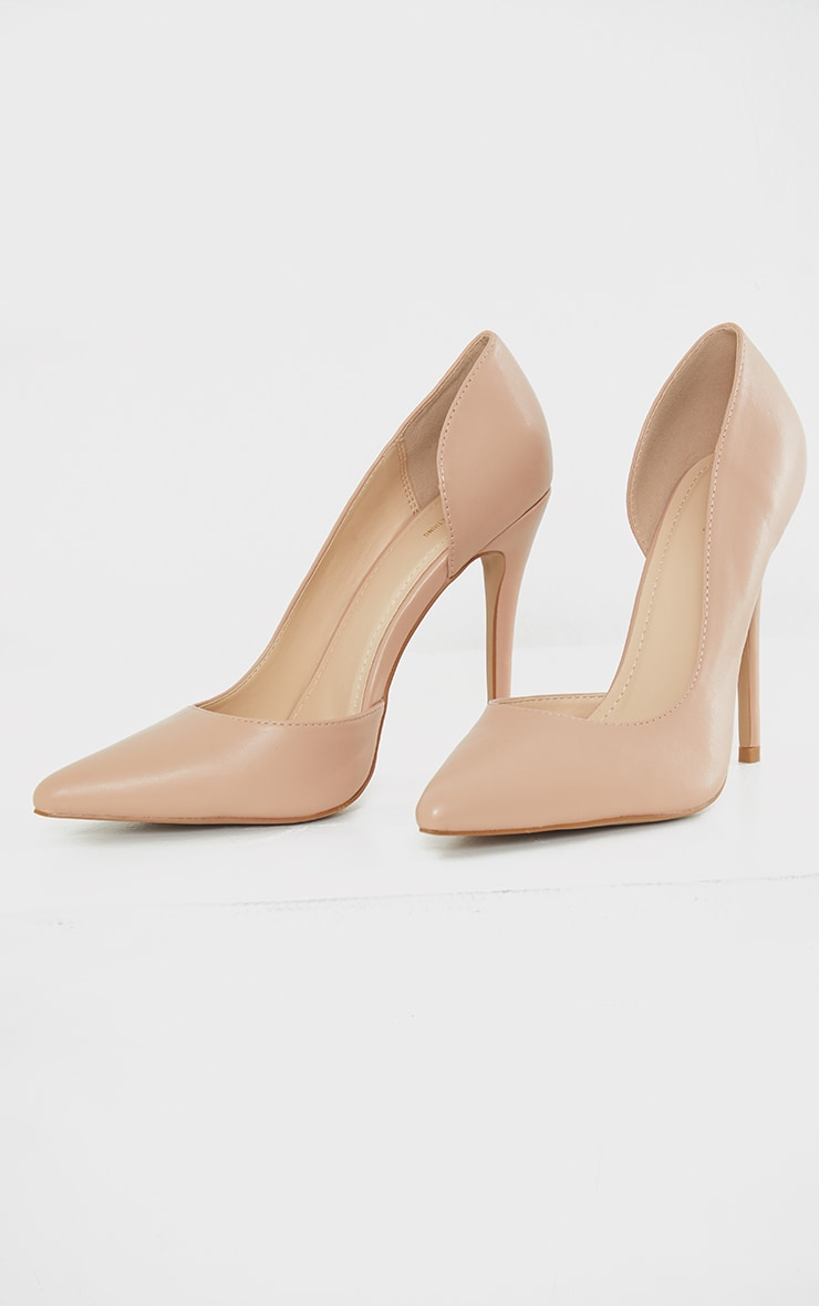 Nude Point Toe Cut Out Side Stiletto Court Shoes 3