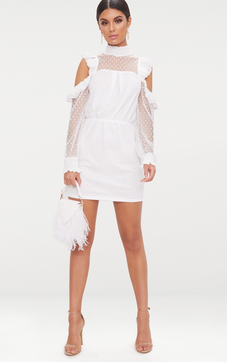 White Lace High Neck Cold Shoulder Frill Detail Skater Dress 4