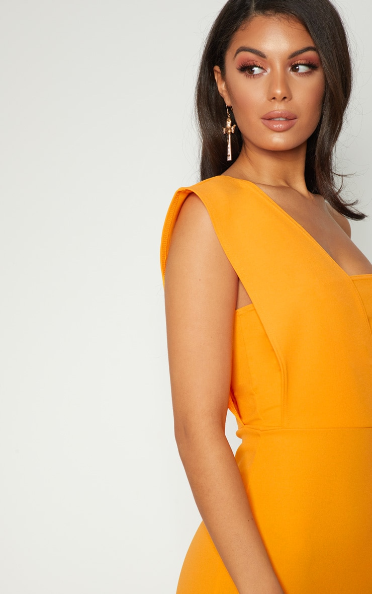 Yellow One Shoulder Draped Midi Dress 5
