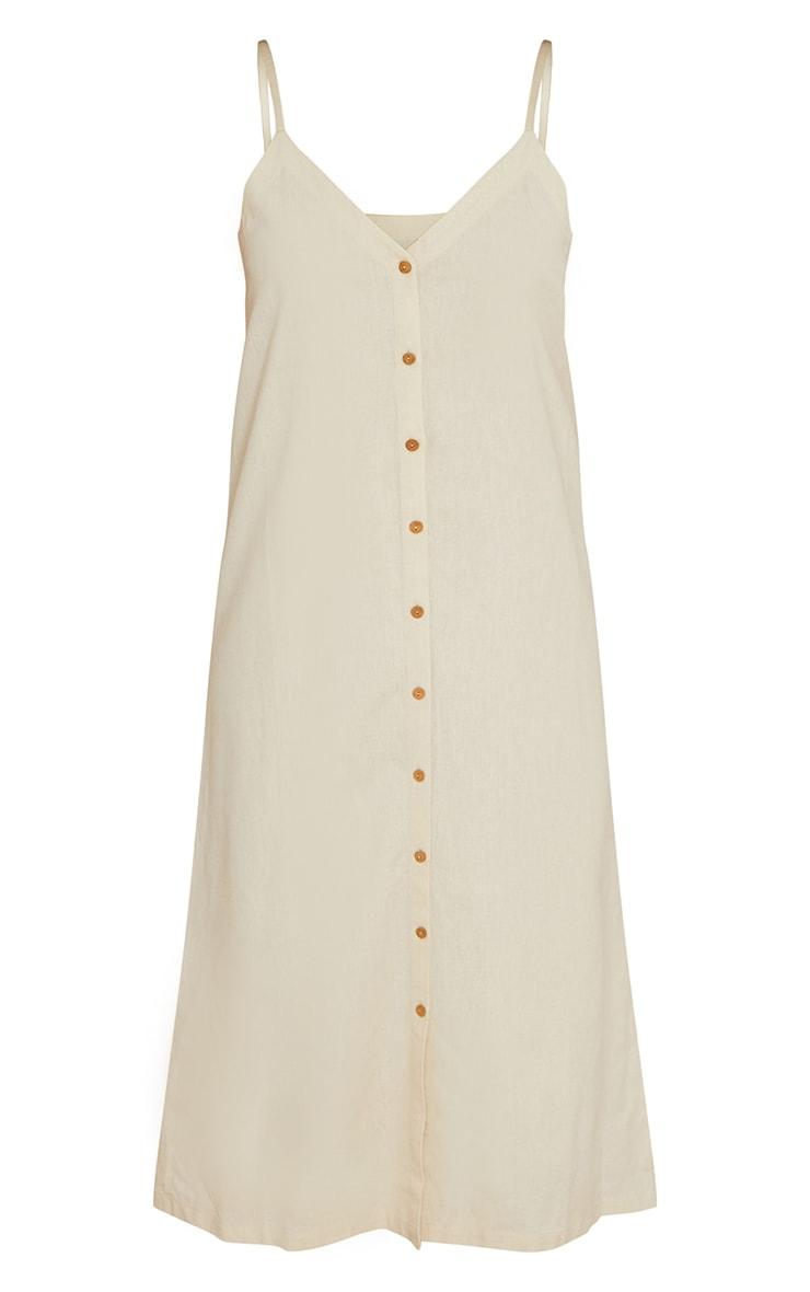 Stone Linen Look Wooden Button Down Strappy Slip Maxi Dress 5