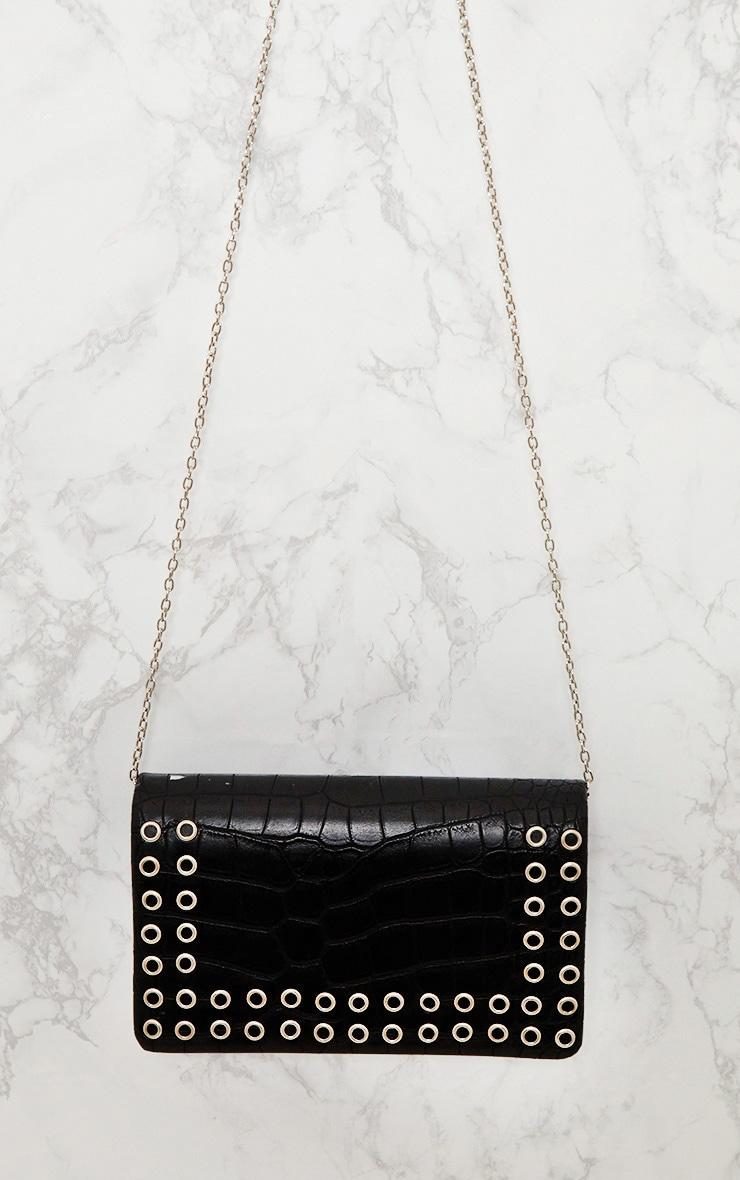 Black Snakeskin Eyelet Detail Shoulder Bag  6