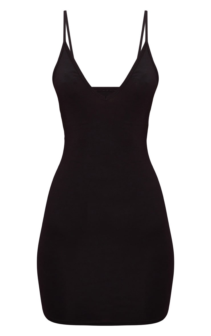 Basic Black Extreme Plunge Strappy Bodycon Dress 3