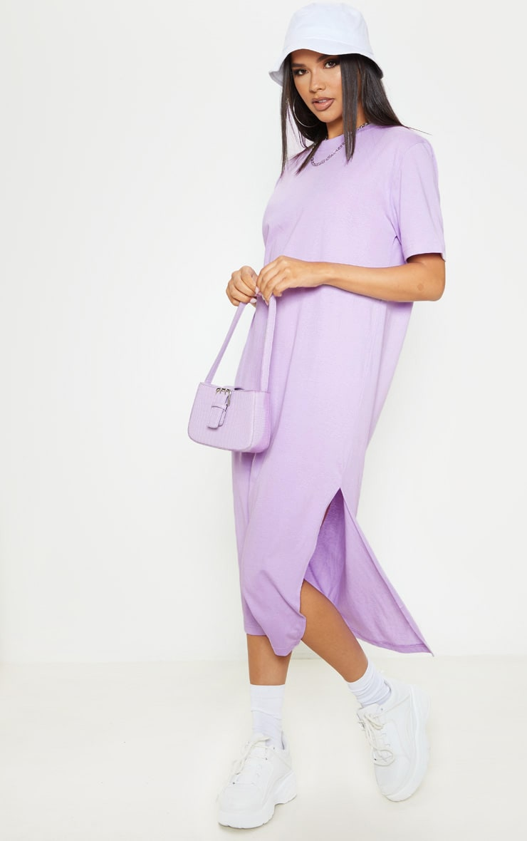 Lilac Split Side Midi T Shirt Dress 1