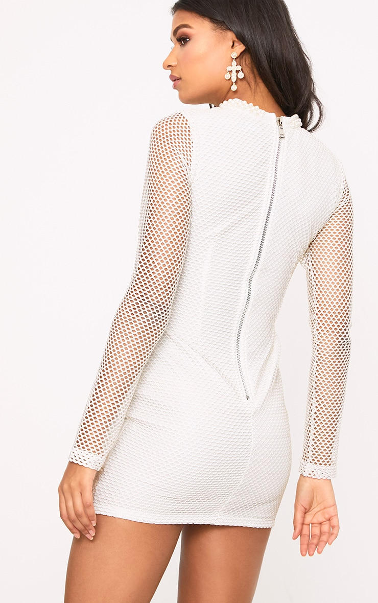 Riella White Premium Fishnet Sequin Panelled Bodycon Dress 2