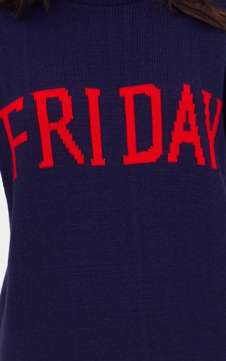 Navy Friday Slogan Jumper 5