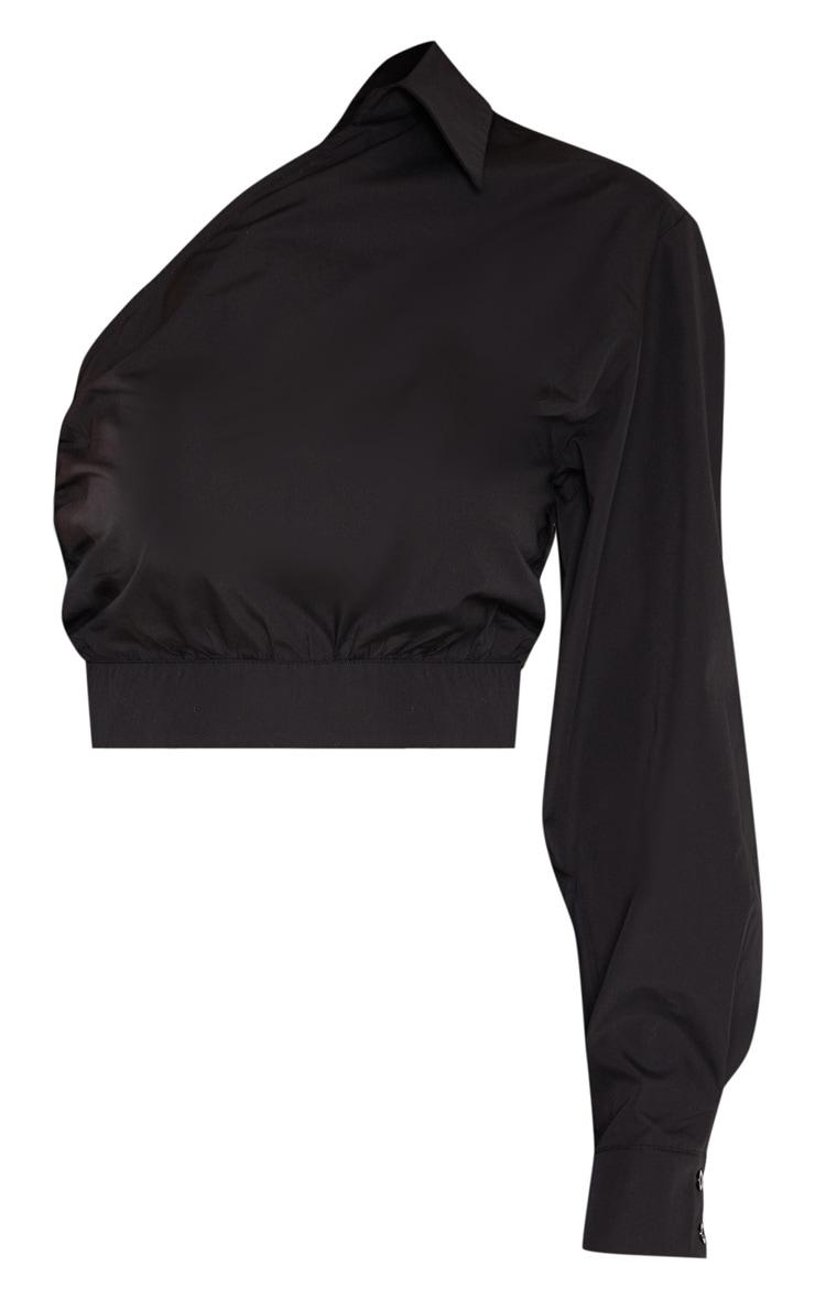 Tall Black Asymmetric One Sleeve Cropped Shirt Top 3
