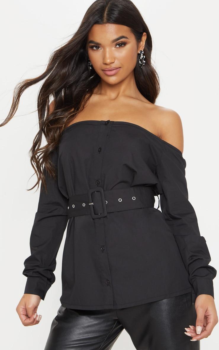 Black Bardot Belted Shirt by Prettylittlething