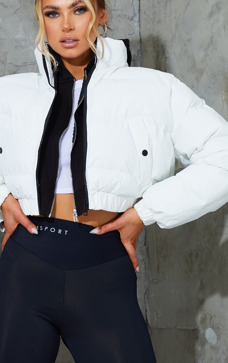 White Reflective Cropped Bubble Zip Detail Puffer Jacket 4
