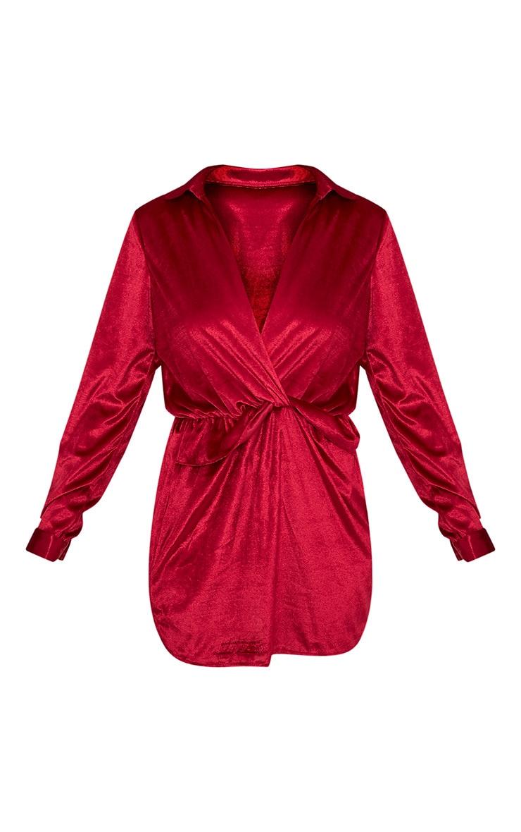 Kaliah Burgundy Velvet Twist Front Shift Dress 3