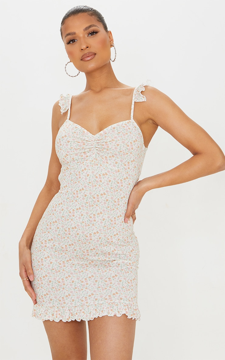 Cream Ditsy Print Frill Bow Tie Detail Bodycon Dress