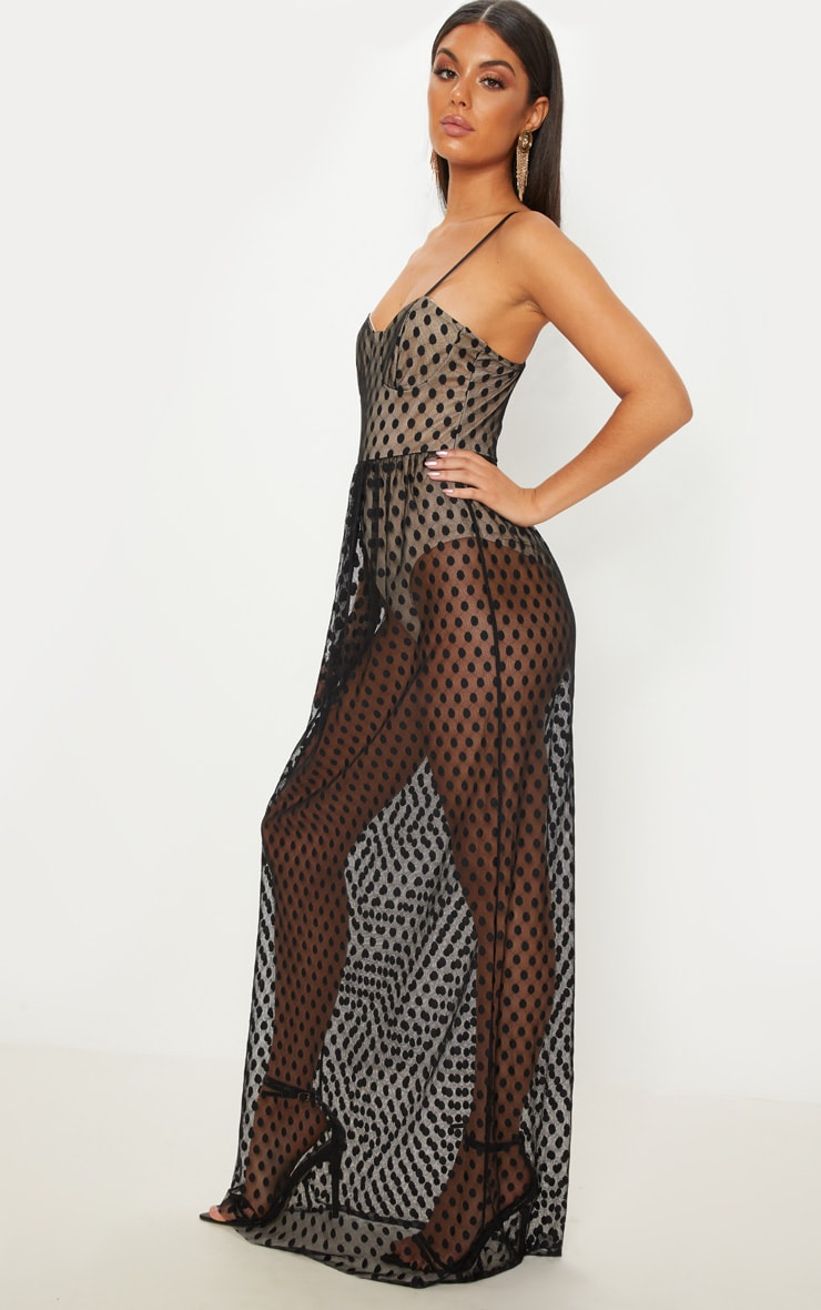 Black Spotty Mesh Sheer Maxi Dress  4