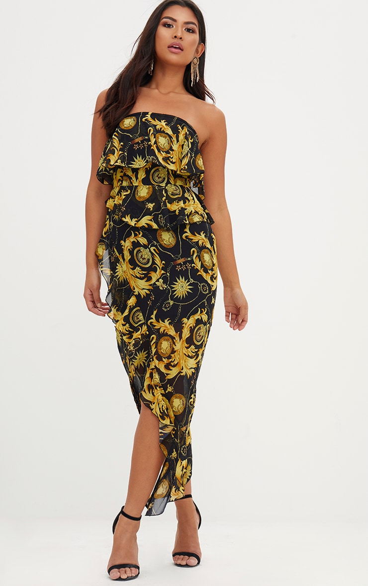 Black Chain Print Bandeau Midi Dress 4