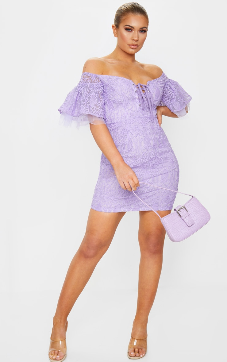 Lilac Embroidered Frill Sleeve Lace Up Bodycon Dress 3