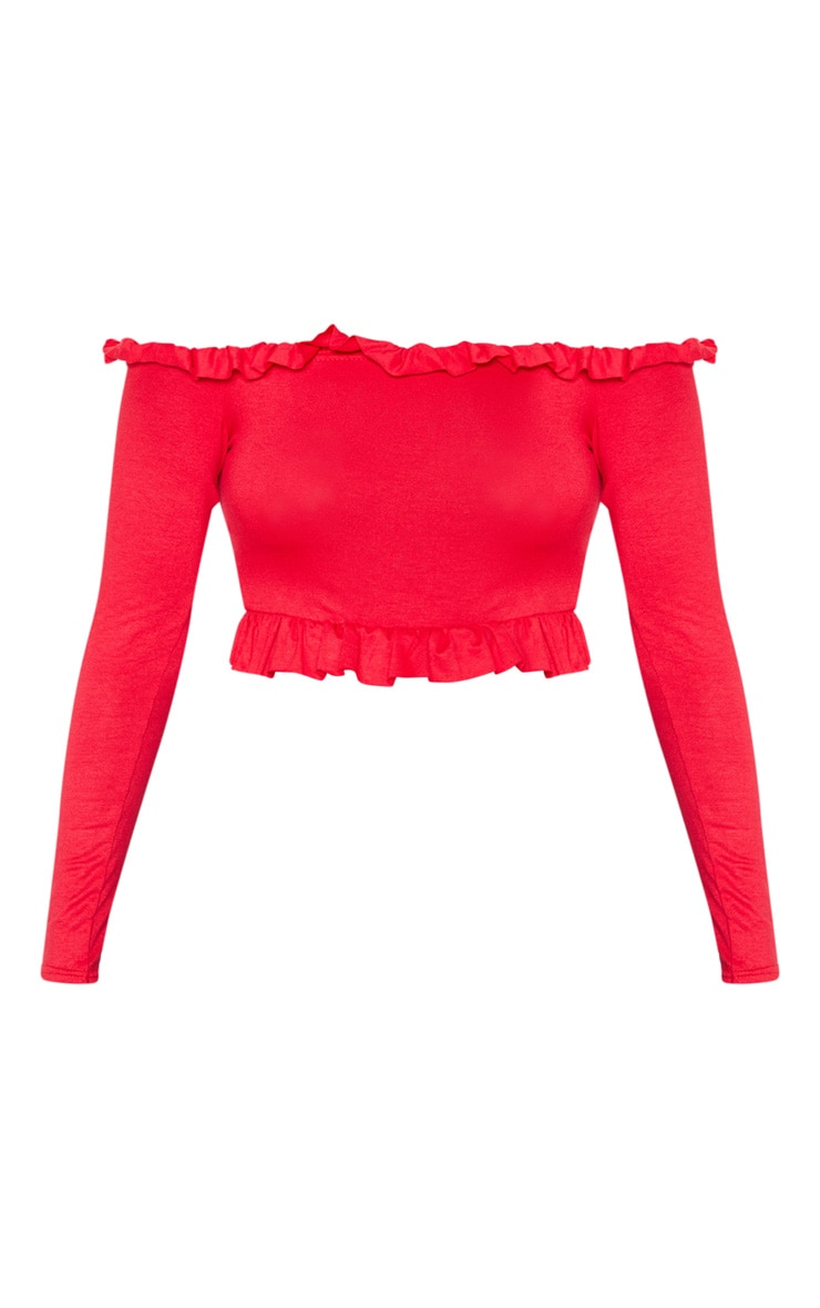 Red Bardot Frill Jersey Crop Top 3