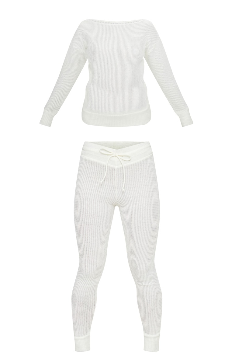 Cream Knitted Rib Jogger Co Ord 3