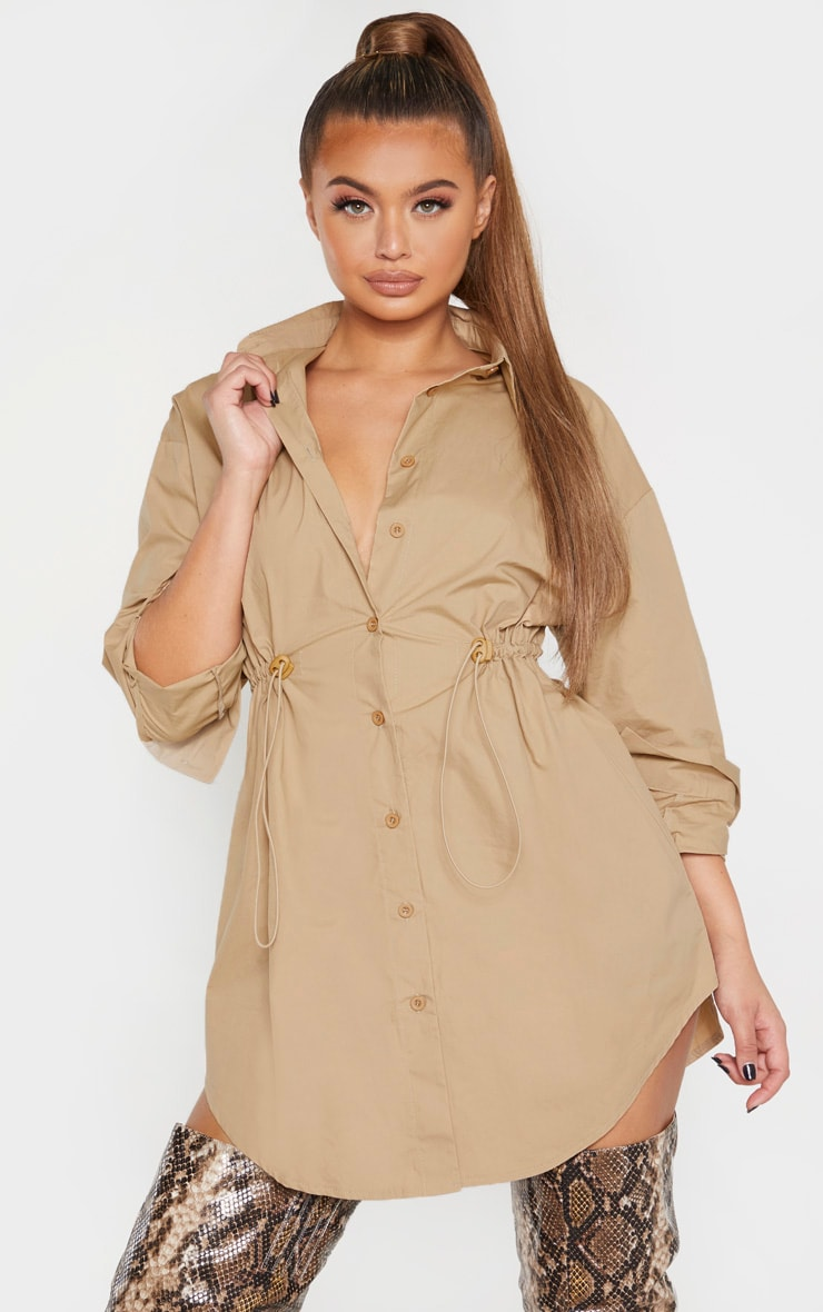 Camel Toggle Drawstring Shirt Dress 4