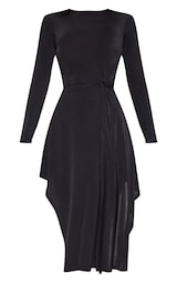 27ffc5e5114 Robe mi-longue manches longues noire noeud frontal. Robes ...