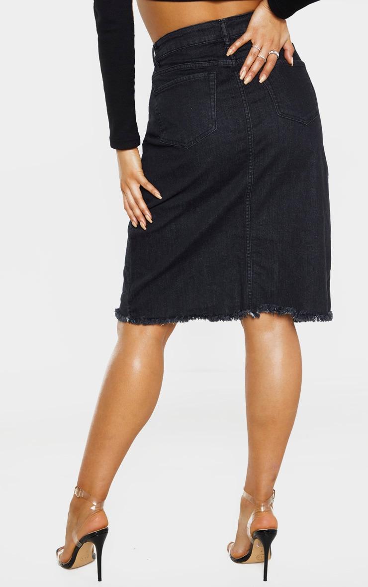 Tall - Jupe en jean mi-longue noir délavé à ourlet fendue 4