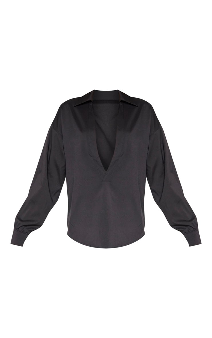 Tall Black V Plunge Blouse  3
