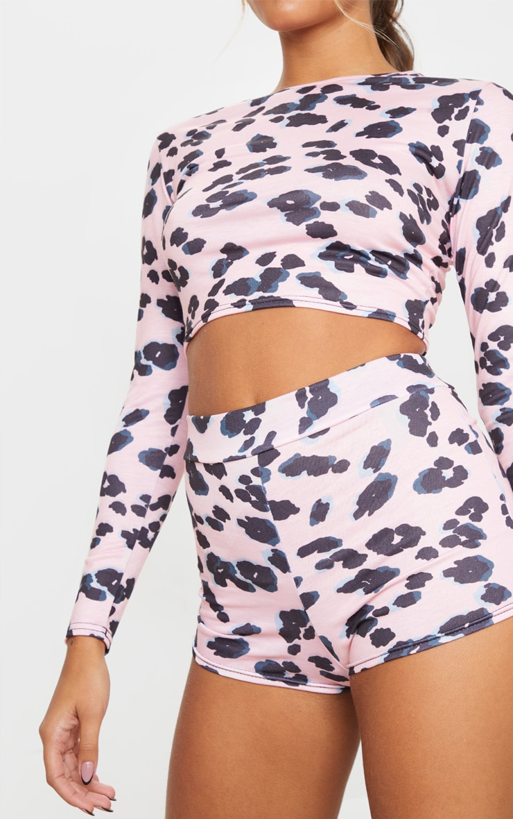 Pink Leopard Print Long Sleeve Crop And Shorts PJ Set 4
