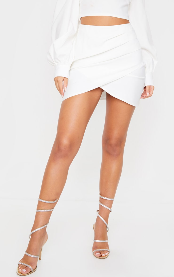 White Woven Panel Front Mini Skirt 2