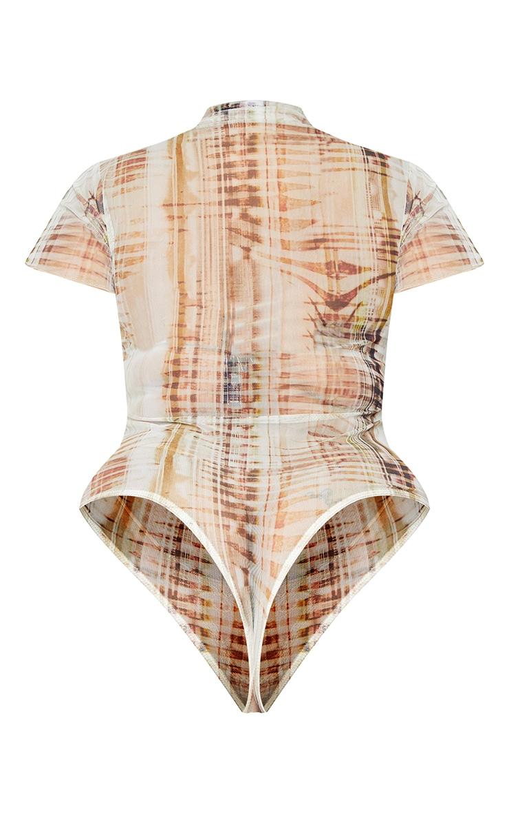 Plus Beige Textured Print Short Sleeve Mesh Bodysuit 6