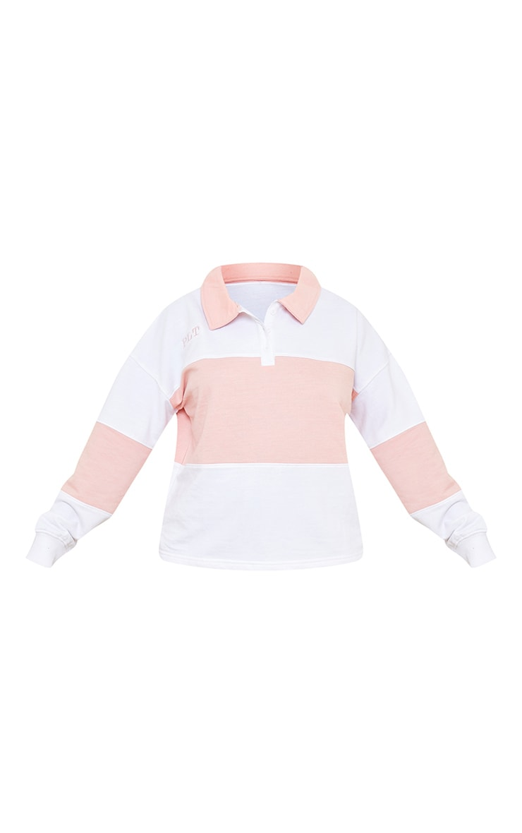 PRETTYLITTLETHING White Oversized Button Up Rugby Shirt 5