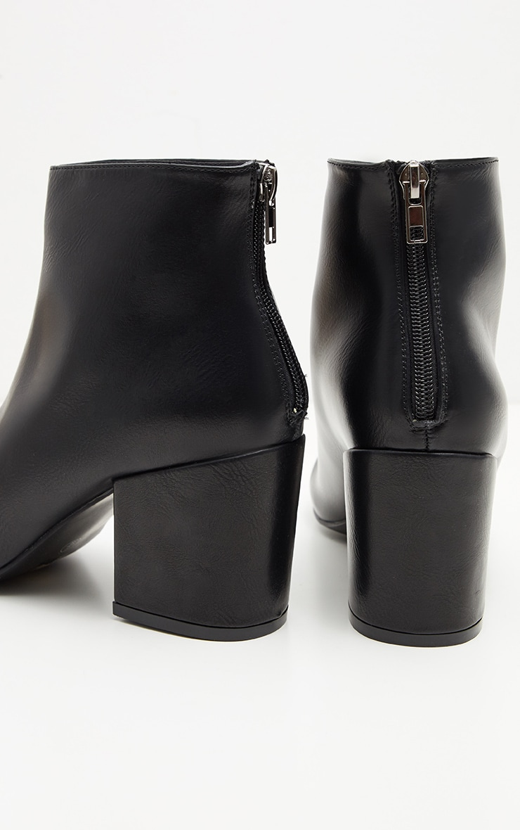Black PU Zip Back Ankle Boot 4