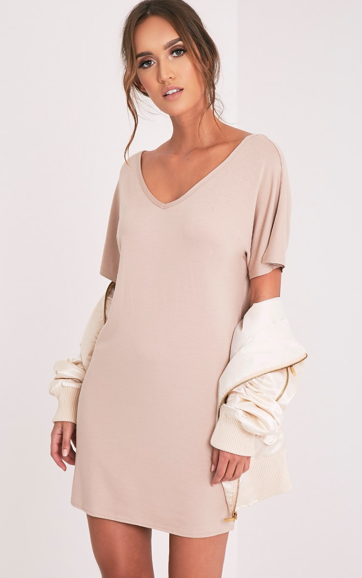 Basic Nude V Neck T Shirt Dress 1