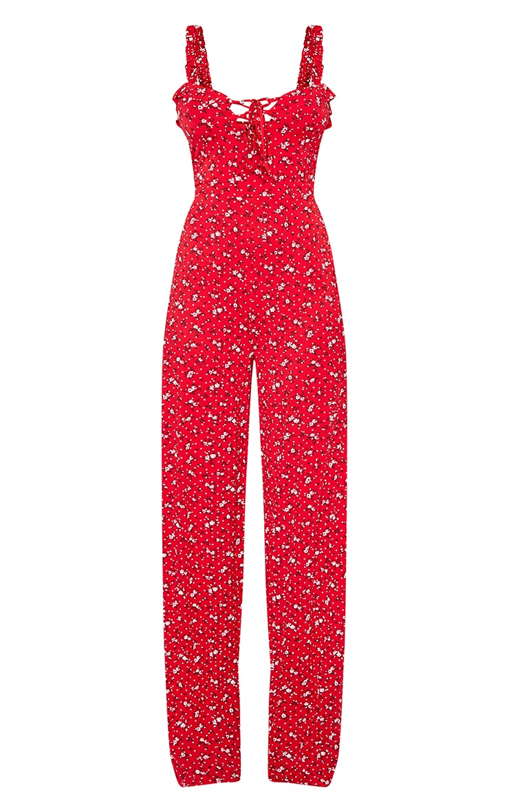 Tall Red Ditsy Floral Wide Leg Jumpsuit 3