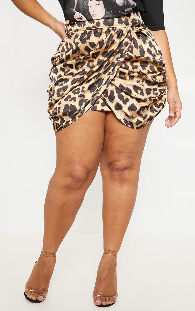 Plus Brown Satin Leopard Print Gathered Mini Skirt 2