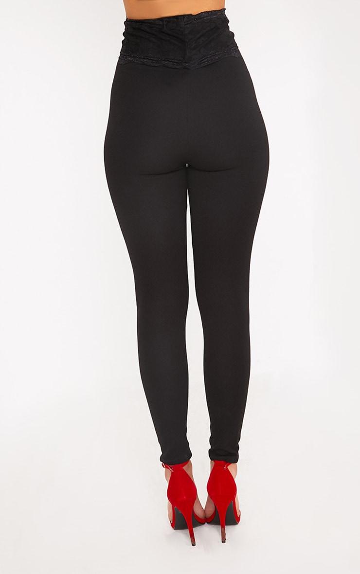 Azalea Black Lace Corset Waist Pants 4